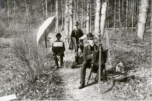 Landschapsschilders en plein air in Genk, ca. 1900
